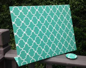 Desk Accessory, Birthday Gift, Ready Ship, Magnetic Board, Desktop Organizer, Turquoise Fabric, Vision Board, Deskscape, Bulletin Board