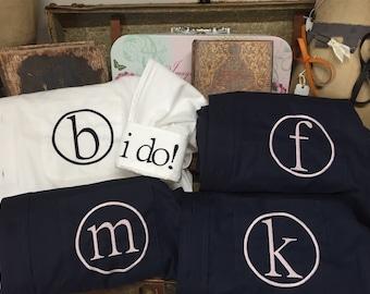 Set of 4, Monogram Bridesmaid Shirt, Personalized Shirt, Bridesmaid Gift, Button Down, Boyfriend Shirt, Getting Ready Shirt, Oversized Shirt