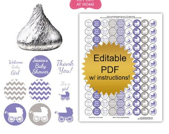 DIY editable printable candy stickers Purple carriage girl baby shower favors Digital File (No.k90PL)