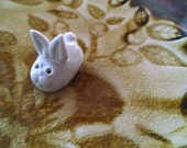 Vintage Woodland Bunny Miniature White Rabbit Handmade Animal Figurine