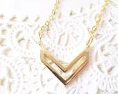 Gold Chevron Necklace - Chevron Charm Necklace - Gold Bar Necklace - Simple Chevron Necklace - Geometric Necklace - Minimalist Jewelry