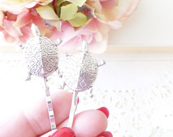 Silver Turtle Hair Pins - Turtle Bobby Pins - Tortoise Hair Pins - Animal - Sea Turtle - Land Turtle - Nature - Woodland