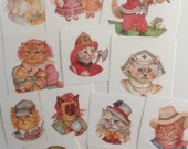 Vintage Cat Stickers Victorian Cats Kittens Cats with Hats and Clothes - set of 34