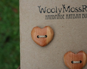 Wood Heart Buttons- Handmade Wooden Buttons- Made To Order- Wooden Button- Knitting, Sewing, Craft Buttons