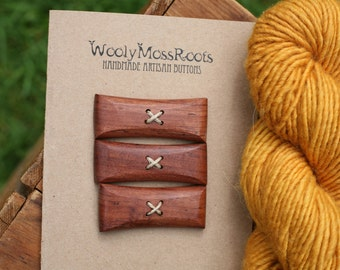 3 Mahogany Toggle Buttons- Mahogany Wood Buttons- Reclaimed Wood- Knitting, Sewing, Craft Buttons