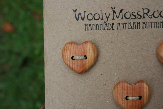 Wood Heart Buttons- Handmade Wooden Buttons- Made To Order- Wooden Button- Knitting, Sewing, Craft Buttons