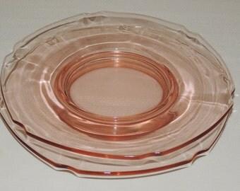 2 pink Fostoria Salad Plates