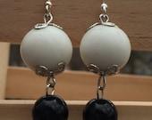 Black and white earrings, repurposed earrings, recycled earrings