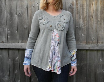 Upcycled Women Sweater Cozy Tunic Loose Women Top Wearable Art Bohemian Clothing Women Cardigan MEDIUM Gray/ Flower Print With Rosettes