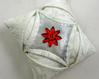 Silver and White Cathedral Window Quilted Christmas Ornament 140