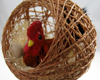 Hen in a Nest Christmas Ornament 321
