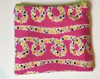 Pink summer flowers Wet bag/Snack bag with waterproof lining