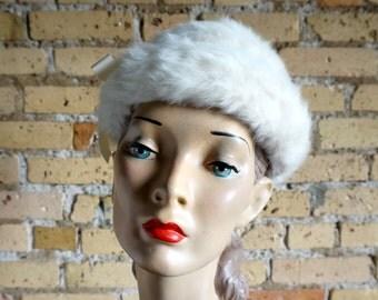 Vintage 1960s Miss Bergdorf for Bergdorf Goodman Ivory White Rabbit Fur Hat Grosgrain Band / Winter Wedding