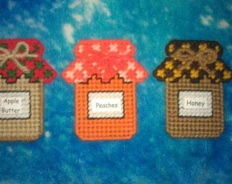 3 Handmade Canning Jar Magnets.....Plastic Canvas