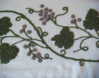 Cabin Crafts Fruit and Floral Vintage Chenille Bedspread Fabric Large Corner Section