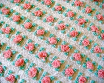 Fluffy Vantona Rosebuds in Pink  on White Vintage Cotton Chenille Bedspread Fabric 18 x 23 Inches