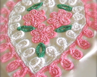 Pink Heart Floral Plush Vintage Chenille Bedspread 21 x 18 Inches