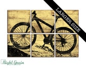 EXTRA Large Mountain Bike Art - Custom Bicycle Print Wall Art - Kids Room - Boys Room Decor 32x48