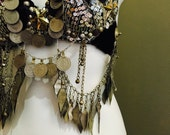 Reserved Tribal Fusion bellydance costume bra with kuchi coins 34B