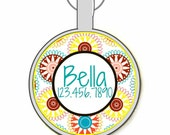 Tribal Spirograph Pattern Personalized Dog ID Pet Tag Custom Pet Tag You Choose Tag Size & Colors
