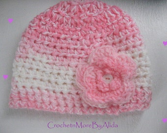 SALE Baby Girl Hat, Crochet FLOWER Hat, Crochet Baby Hat, PINK Baby Beanie, Photography Prop, Hat with Flower, Baby Shower Gift