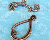 3 Teardrop Toggle Sets COPPER Plated Pewter USA Made (TD3) Ornate Swirled Scrolled 22mm Jewelry Supplies Findings Necklace Bracelet Clasp