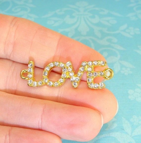 3 Rhinestone LOVE Charms Bracelet Bars Gold with Crystal for Bracelets 1.5inches (44854) Pave Rhinestone Gold Love Jewelry Supplies