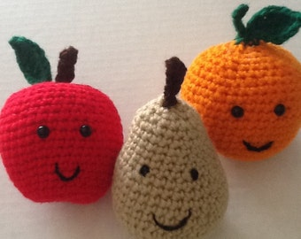 Orchard fruit- Crochet Apple, Orange & Pear for preschool, toddler play and photo shoot - Great for Summer Car Travel