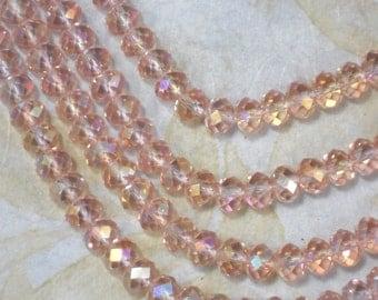 Overstock Sale 50 Light Rose Pink Faceted Crystal Beads 6mm x 8mm Rondelle Briolette Saucers (C461)