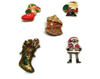 Vintage Lot of Christmas Pin Brooches Vintage Christmas Brooches Holiday Brooches Lot Of Vintage Brooches Vintage Christmas Pins