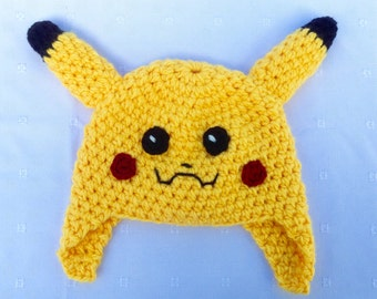 Pikachu Hat Pokemon Go Comic Crochet Beanie Ear Flaps Girl Boy, Yellow, Halloween Costume, Video Game Character, Soft, Warm, JE693F4
