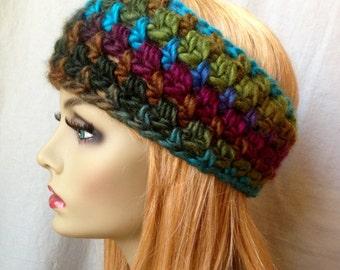 Crochet Headband Ear Warmer, Multi Color, Ski Headband, Wool, Chunky, Holiday Gifts for her, Birthday Gifts, Handmade HBJE444