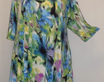 Plus Size Tunic Coco and Juan Plus Size Asymmetric Tunic Top Watercolor Print Traveler Knit Size 1 (fits 1X,2X)   Bust 50 inches