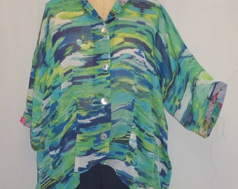 Coco and Juan, Plus Size Top, Lagenlook, Turquoise Ocean, High, Low Shirt, Plus Size Jacket, Women's Shirt, OS 1X 2X 3X Bust to 64 inches