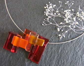 Unique Fused Glass Choker, Red, Orange, Pendant Necklace, Fused Glass Jewelry