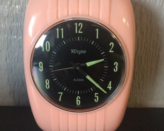 Vintage Retro Pink Wind Up Alarm Clock by Nutyme