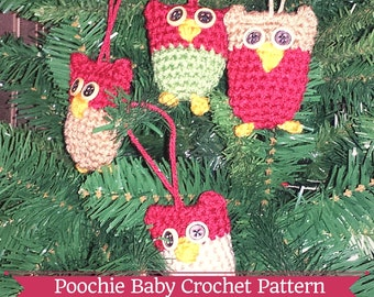 PATTERN - Crochet Stuffed Owl Ornament. For Christmas Trees, Key Chains, Baubles, Etc.