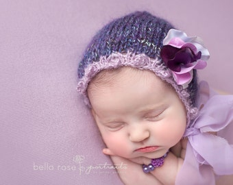 Mohair Picot Fine Newborn Bonnet Girl Photo Prop Going Home Hat Summer Baby Chiffon Ties Spring Hand Knit Organic Outfit Coming Cap Lavender