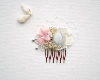 Grey Pink Beach Weddings Bridal Sea Shells Mini Comb, Nautical Hawaiian Wedding Hair Accessories, Bridal Gray Mermaid Seashells Headpiece