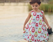 Girls Christmas Matryoshka Bubble Dress, sizes 1t to 6, by SunLoveShirts