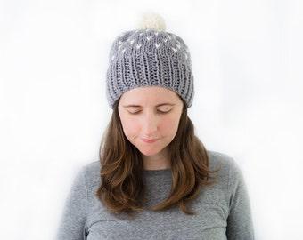 Knit Hat, Wool Knitted Beanie, Women's Winter Fair Isle Hat with Pom Pom - Sweetgum Hat