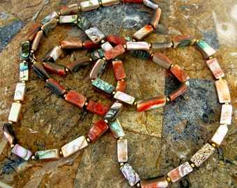Vintage Necklace Natural Abalone Shell Rectangle Bead Red Coral Purple 1970s