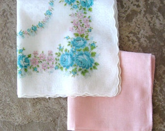 Vintage Handkerchief Hankie Floral Roses Daisies Aqua Pink Green Set of Two
