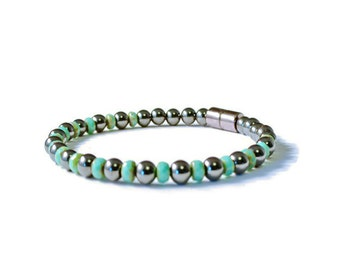 Black Magnetic Therapy Bracelet with Turquoise Firepolish, Good Health, Pain Relief