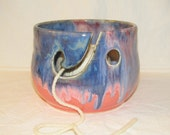Pottery Chick yarn bowl, knitting bowl, in blues, purples and pink