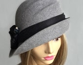 Darcy, Fur Felt Cloche, millinery hat, Downton Abbey era, grey heather, embellished with silk dupioni and gemstone hat pin