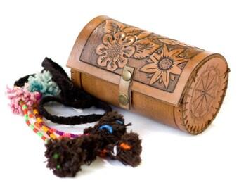 Boho Hand Engraved Leather Jewelry Case - Gypsy Leather Bag - Hippie Hand Engraved Collar Case - One of a Kind