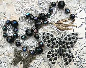 butterfly necklace assemblage black white bird upcycle