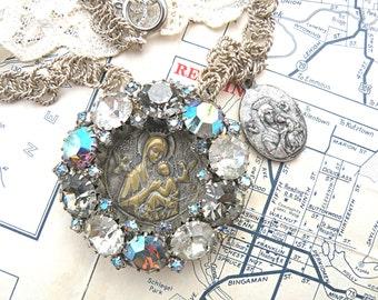 religious necklace rhinestone assemblage pendant catholic medal