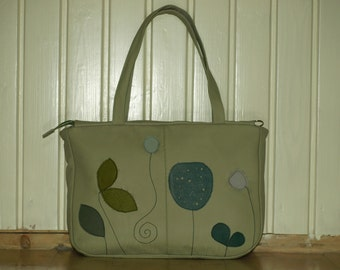 Olive green Leather Bag Purse, floral tote, leather floral bag womens Laptop Bag, summer purse Travel briefcase,  diaper bag, xl luggage